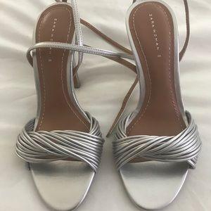 Zara Silver Sandals Size 36